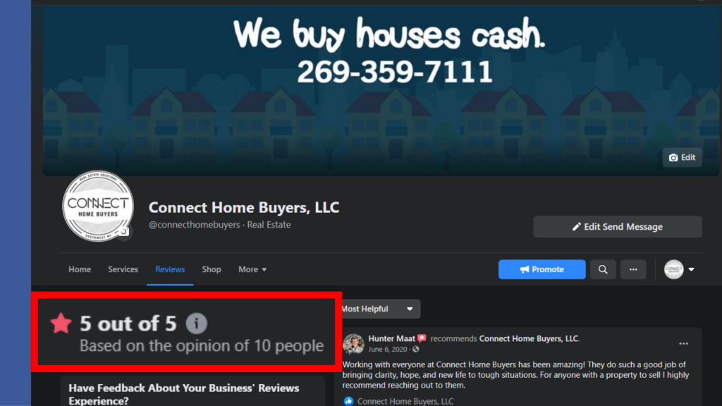 Connect Home Buyers FB Reviews