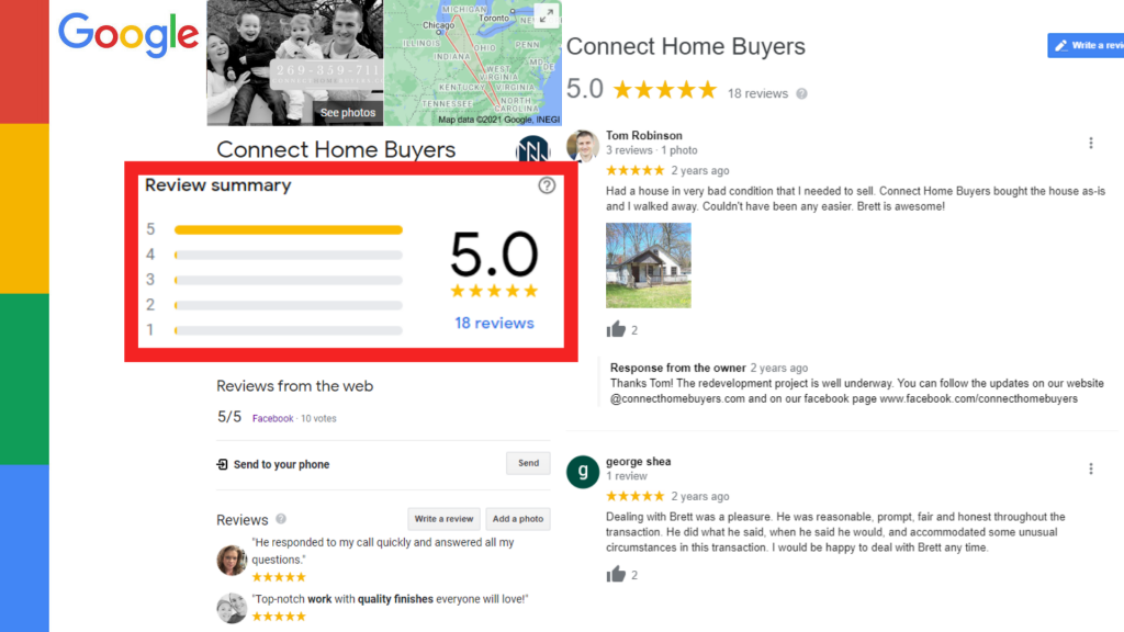 Connect Home Buyers Google Reviews